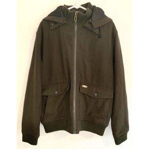 Billabong men's wool green hooded coat size large
